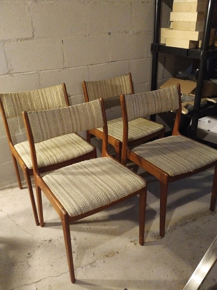Vintage teak dining chairs (set of four)