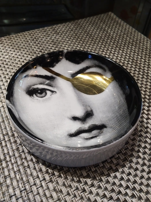 Round ashtray dish Piero Fornasetti T&V Gold No 8