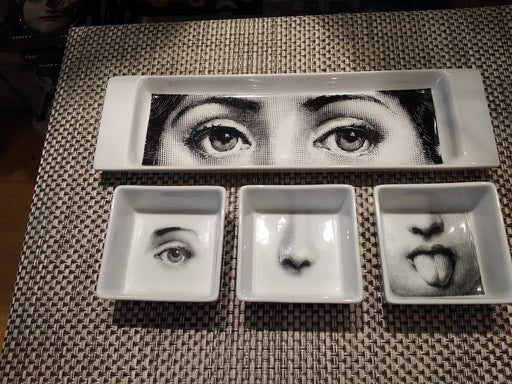 Fornasetti appitizer set tray and dishes
