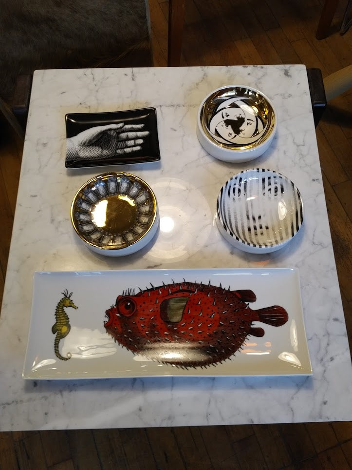 Round ashtray dish Piero Fornasetti T&V Gold owls
