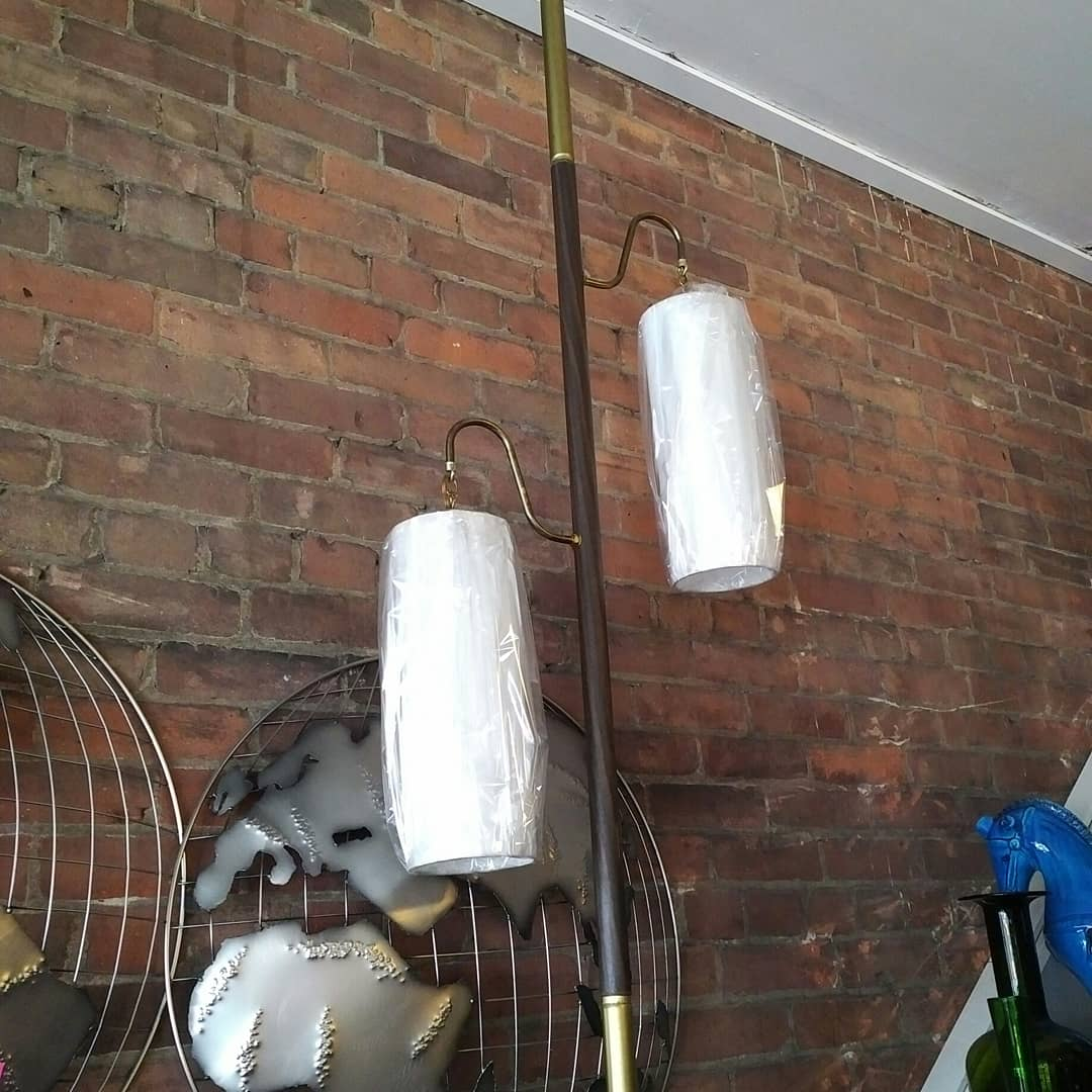 Vintage tension pole lamp with new shade