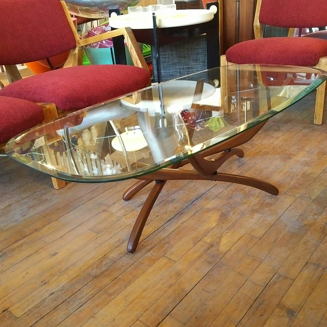 Mid century walnut and glass coffee table