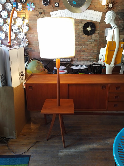 Teak floor lamp with table new lampshade