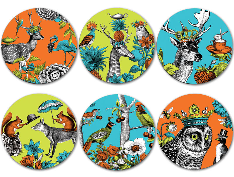 Menagerie Coasters set of six