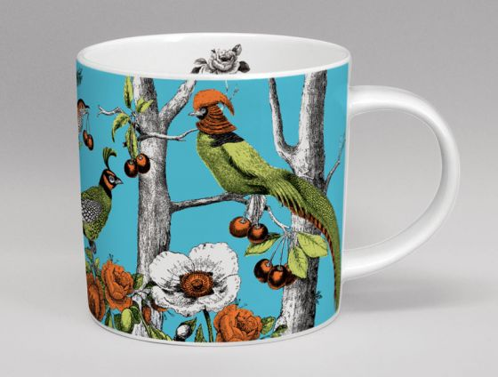 Menagerie Birds Bone China Mug Turquoise
