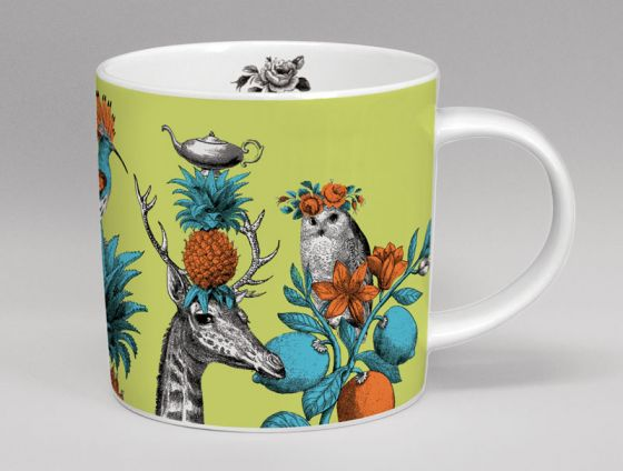 Menagerie Giraffe Bone China Mug Green