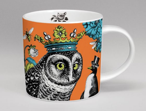 Menagerie Hoot Owl Bone China Mug Orange