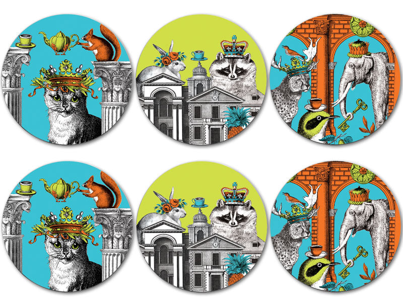 Menagerie Coasters Neoclassical set of six