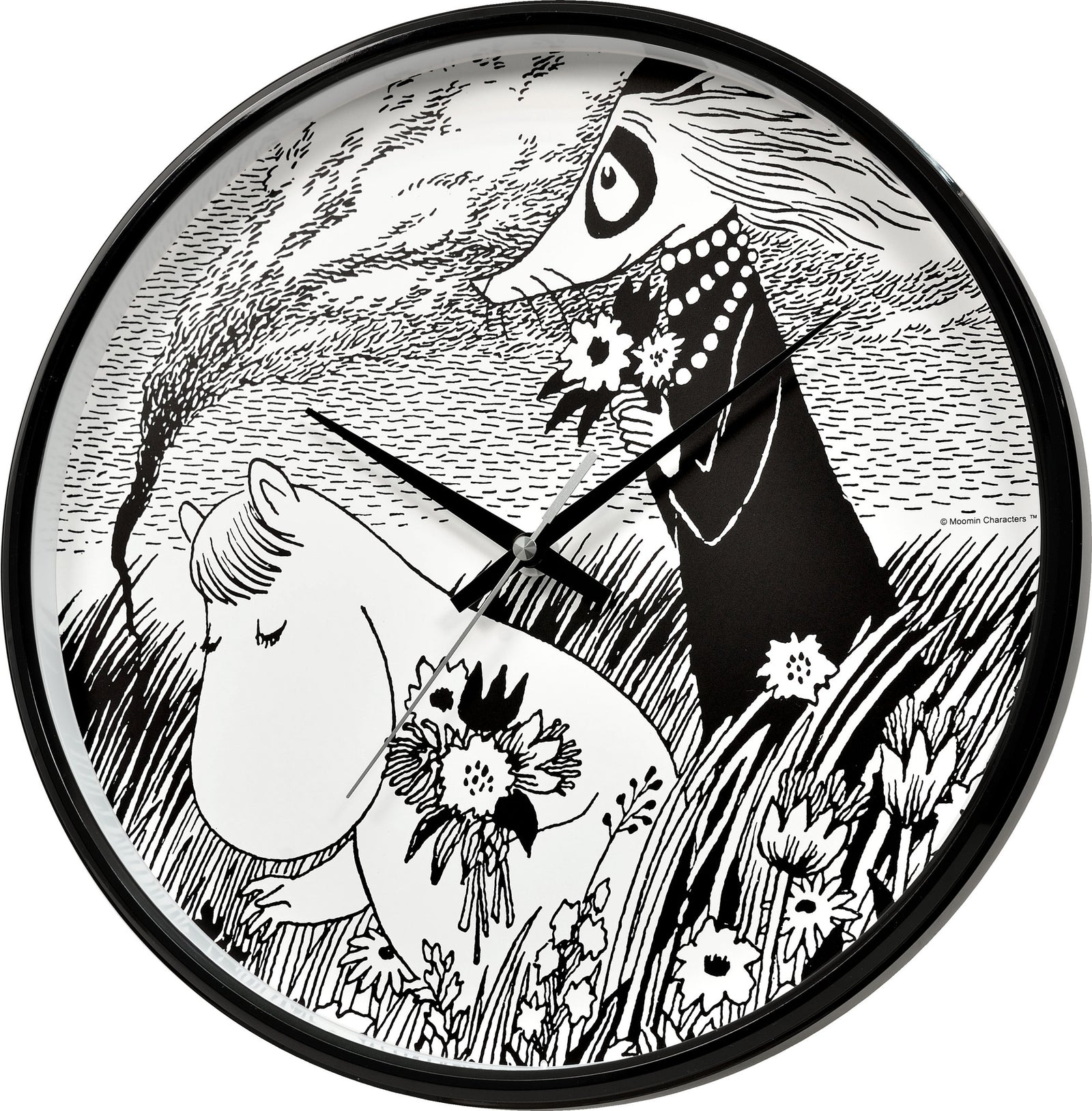 Moomin wall clock Snorkmaiden in meadow