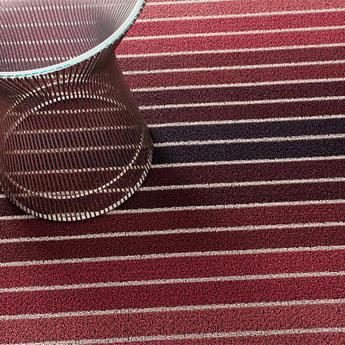 Chilewich Shag Block Stripe Cranberry Doormat (18'' x 28'')