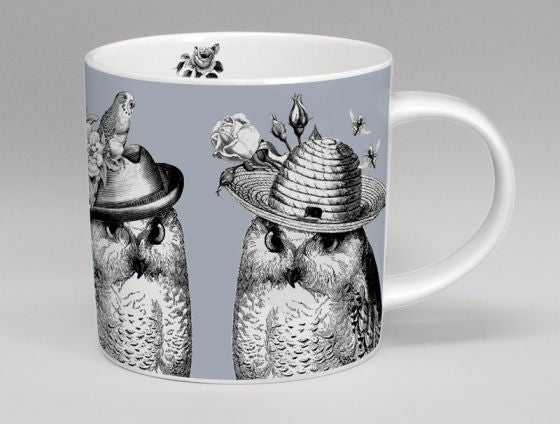Sunday Best Owls Bone China Mug Grey