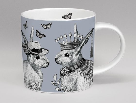 Sunday Best Rabbits Bone China Mug Grey