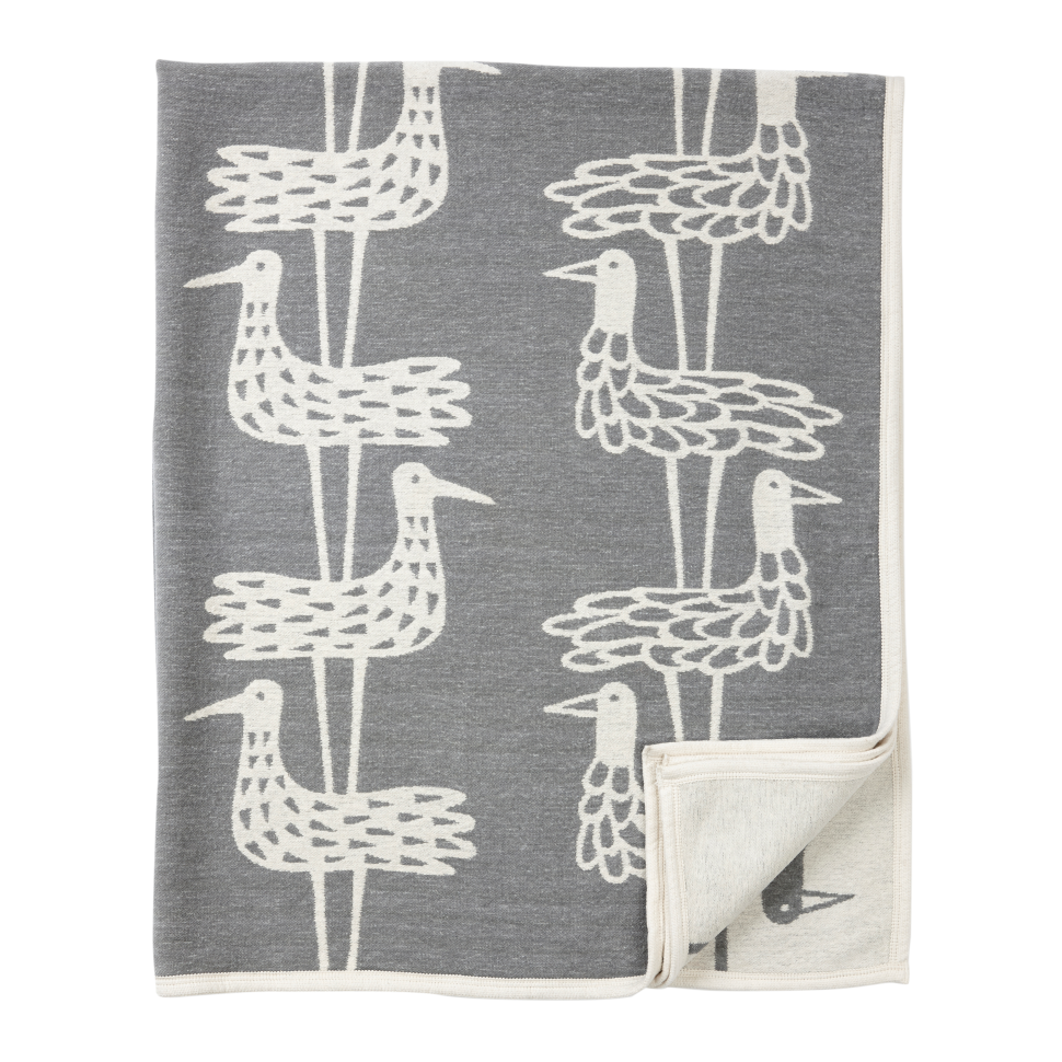 Klippan blanket organic cotton chenille Shore Birds