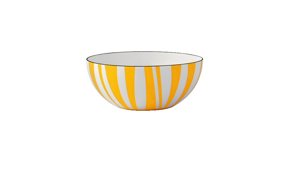 Cathrineholm enamel bowl 14cm stripes yellow