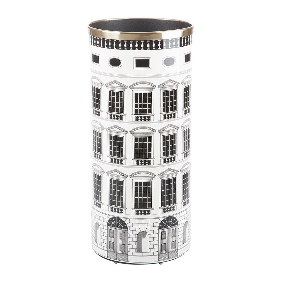 Fornasetti umbrella stand Architettura black and white