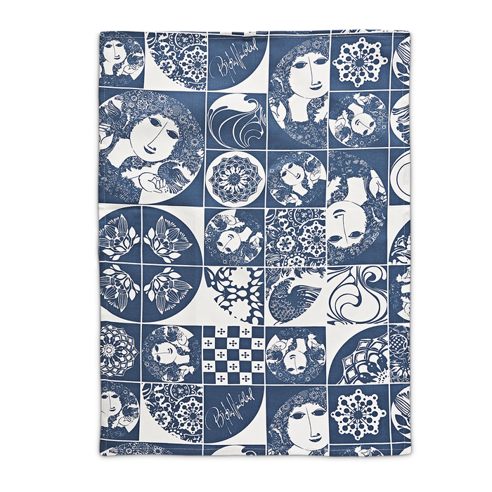 Bjorn Wiinblad kitchen towel teatowel blue