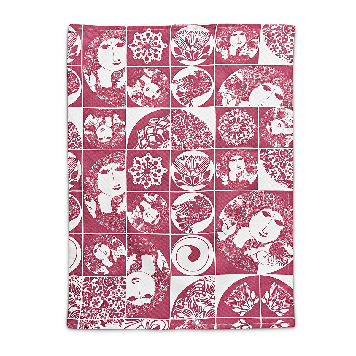 Bjorn Wiinblad kitchen towel teatowel red