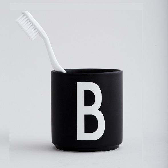 Arne Jacobsen ABC Design Letters porcelain cup mug BLACK