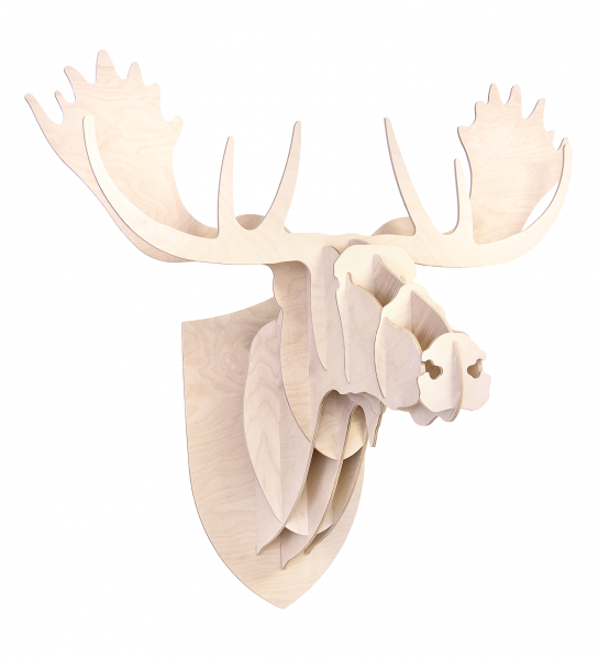 Wooden Moose wall art natural finish