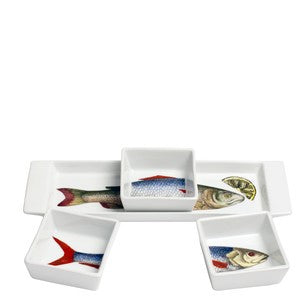 Fornasetti appitizer set tray and dishes Pesci colour