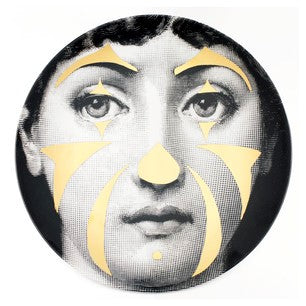 Gold Fornasetti plate Theme & Variations series no g122