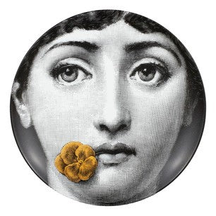 Gold Fornasetti plate Theme & Variations series no g137