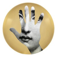 Gold Fornasetti plate Theme & Variations series no g015