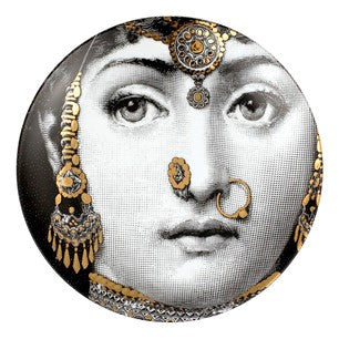 Gold Fornasetti plate Theme & Variations series no g228
