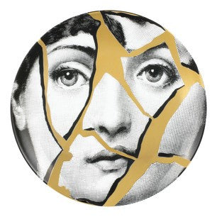Gold Fornasetti plate Theme & Variations series no g002