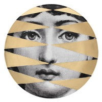 Gold Fornasetti plate Theme & Variations series no g046
