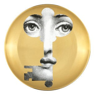 Gold Fornasetti plate Theme & Variations series no g047