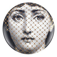 Gold Fornasetti plate Theme & Variations series no g078