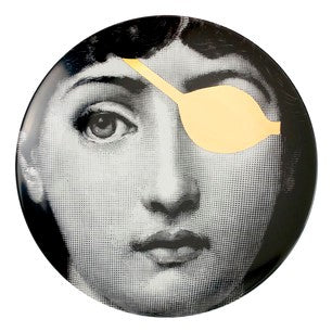 Gold Fornasetti plate Theme & Variations series no g008