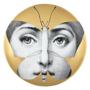 Gold Fornasetti plate Theme & Variations series no g096