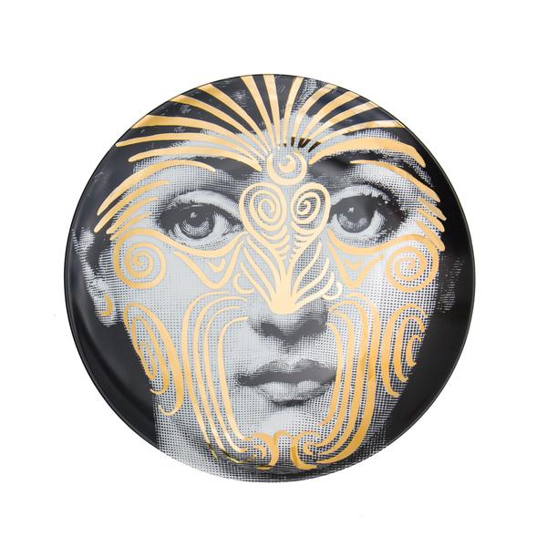 Gold Fornasetti plate Theme & Variations series no g009