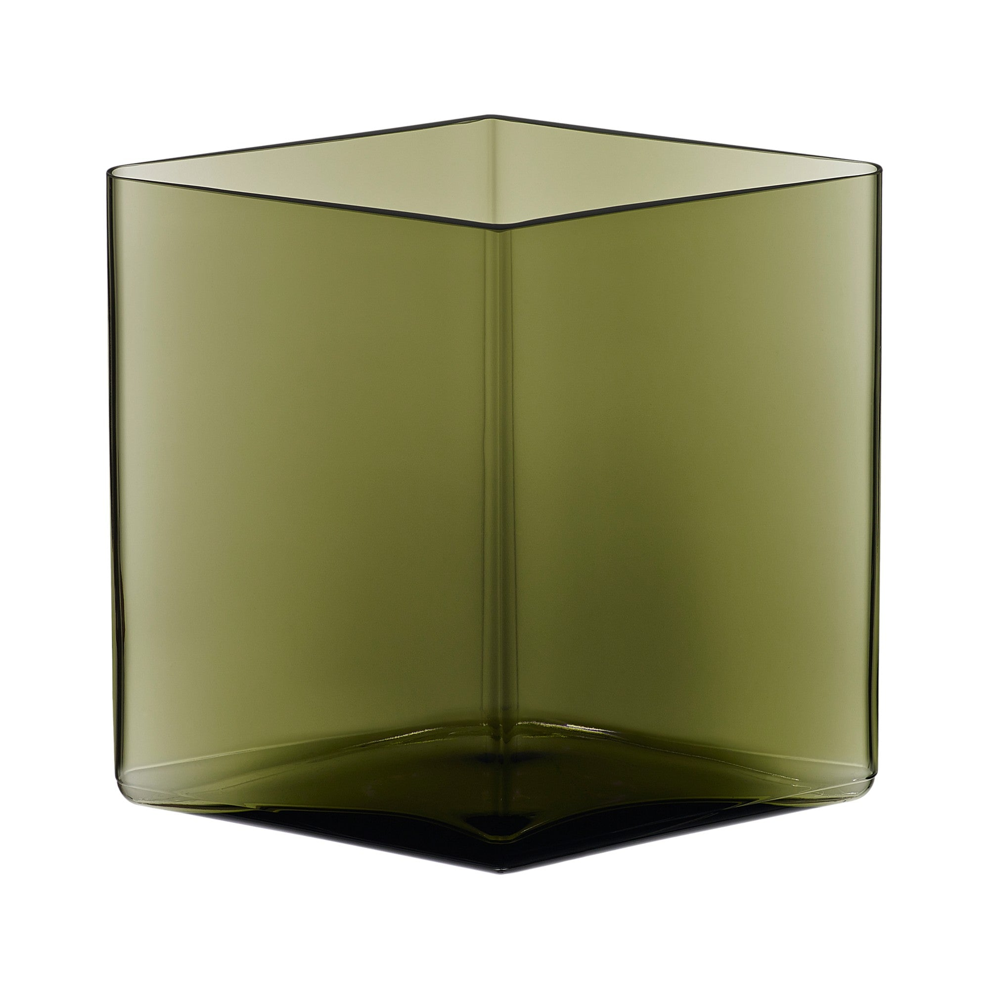 "Ruutu vase 205x180mm / 8.25""x7.25"" moss green"