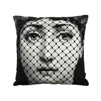 "Fornasetti Pillow 16"" x 16"" Netting / mask / Cushion Burlesque"