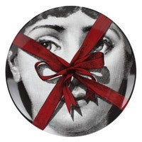 Red Fornasetti plate Theme & Variations series no r171