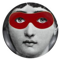Red Fornasetti plate Theme & Variations series no r022