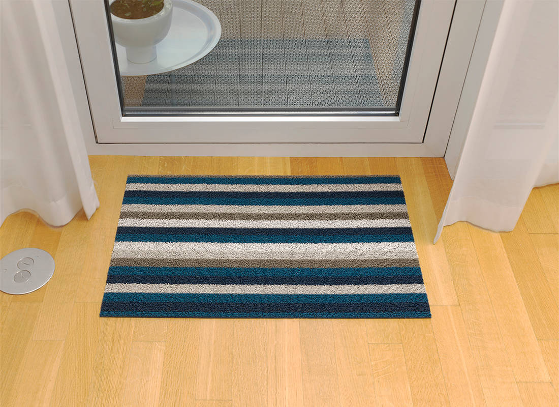 Chilewich Even Stripe Shag Mat in Marine