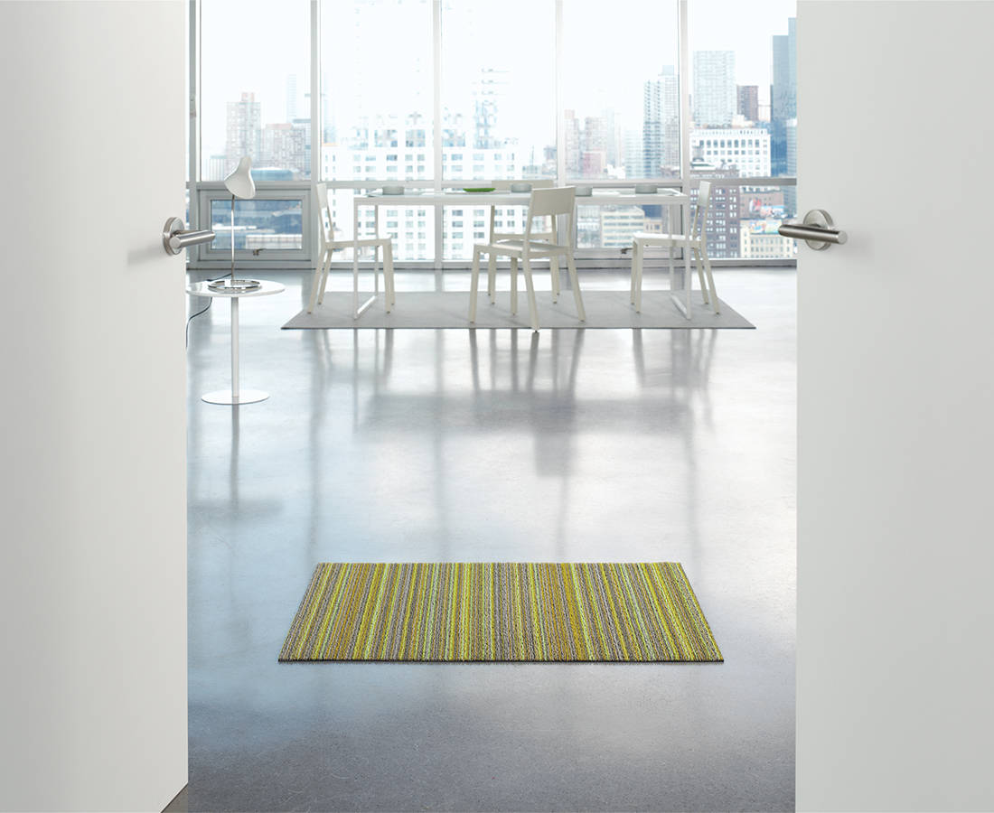 Chilewich Skinny Stripe Shag Mat in Citron