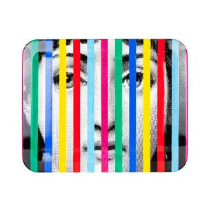 Fornasetti tray wood rectangular 48cmx60cm - Face and stripes