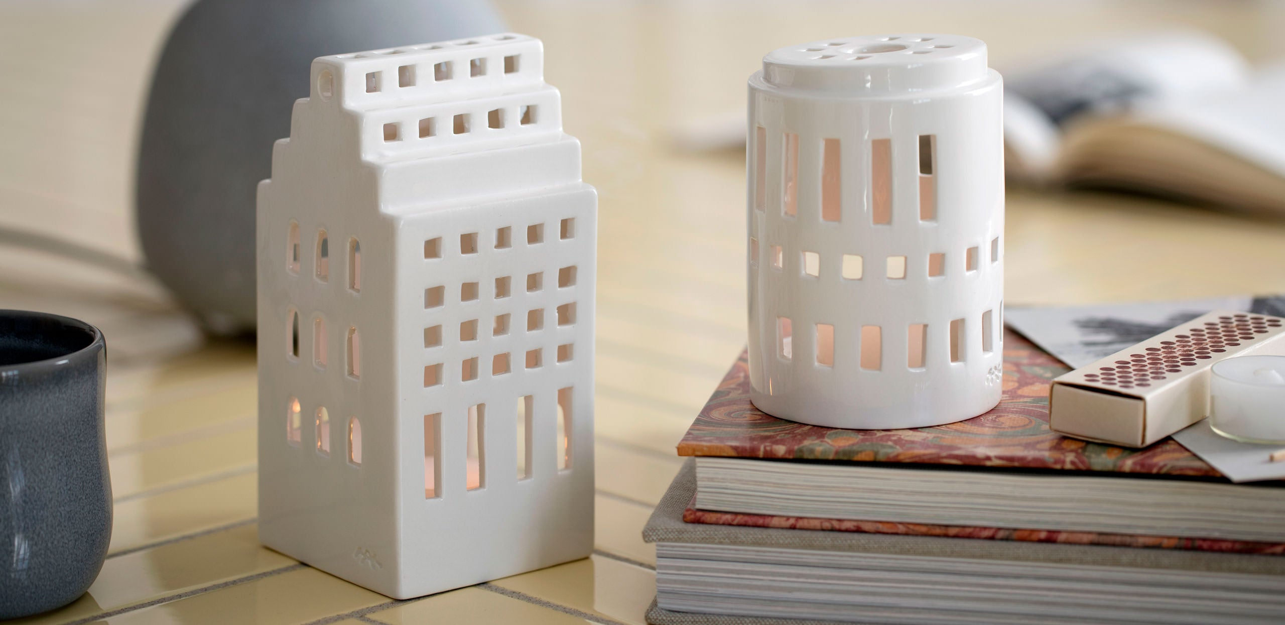 Kähler Design Urbania Votive Candle House Tower White