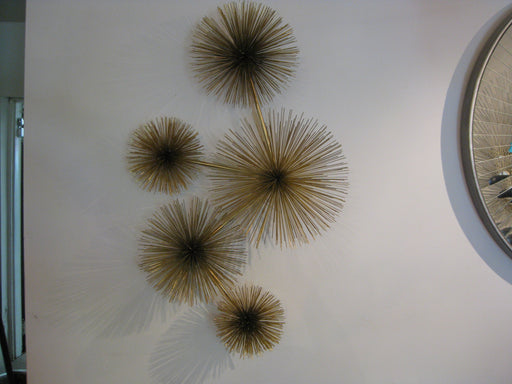 Curtis Jere metal Pom Pom Urchin wall art brass