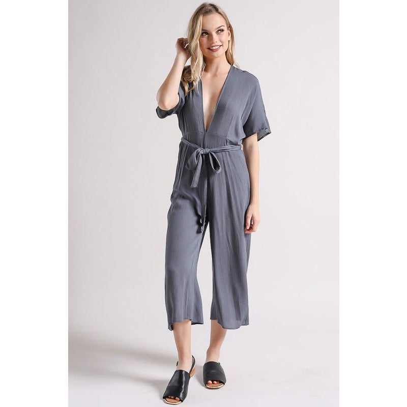 Night Out | Open Back Charcoal Jumpsuit