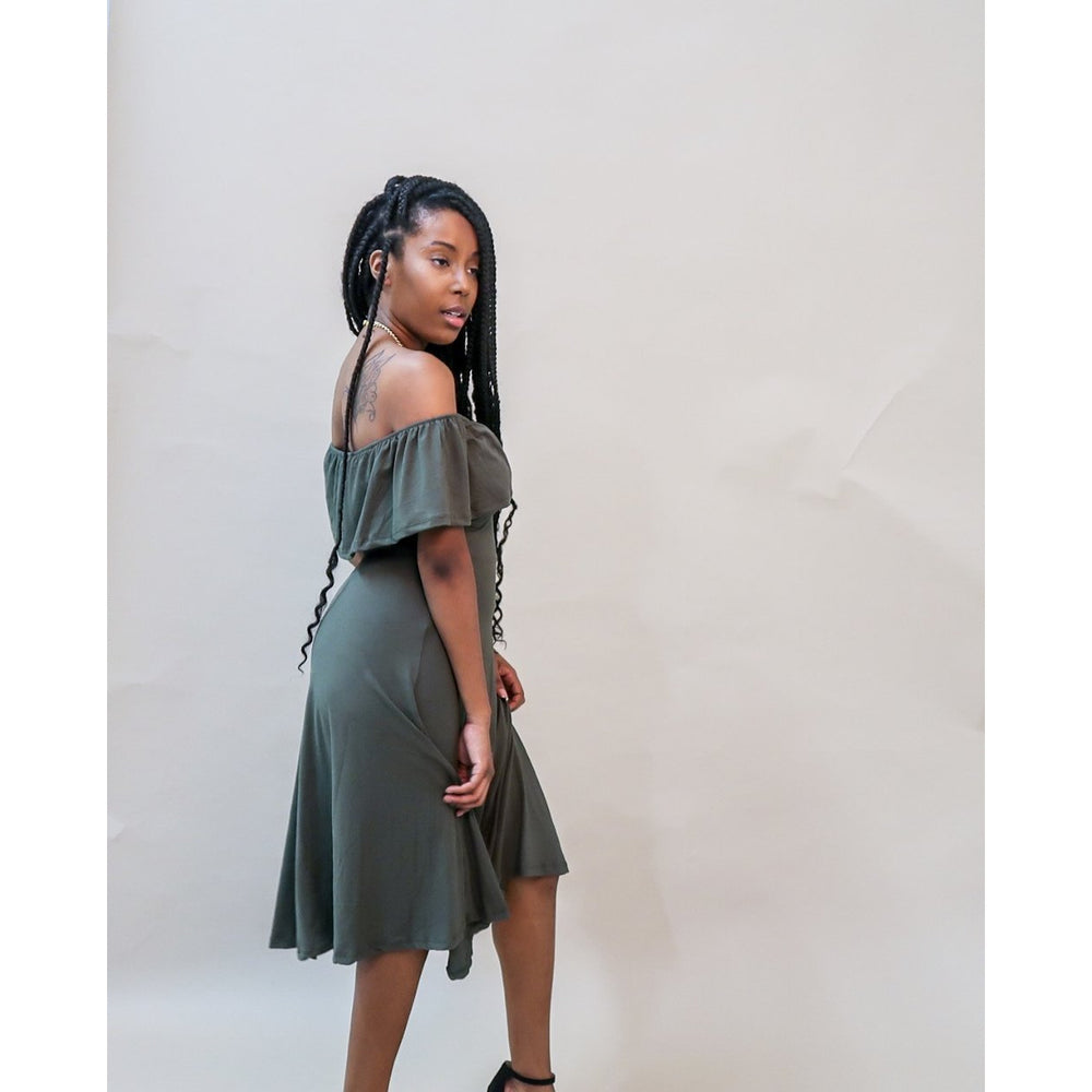 Take Me Out | Olive Ruffle Dress