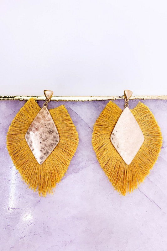 Mustard Fall Drop Earrings