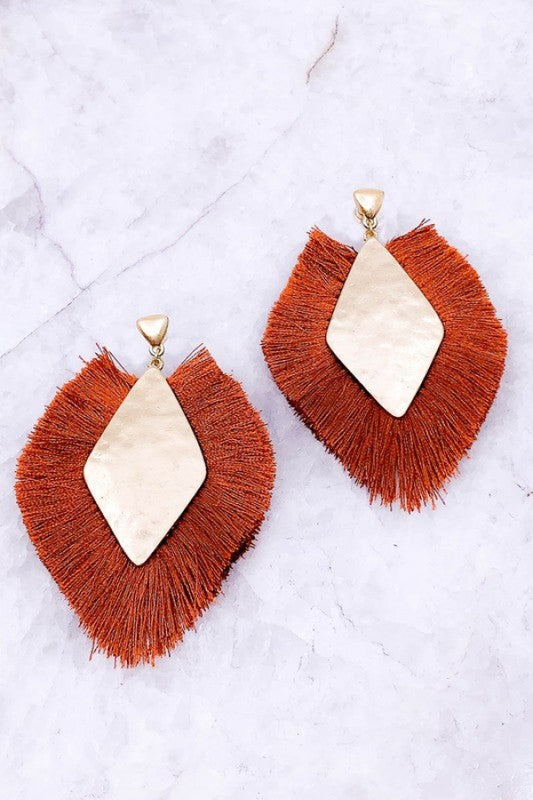 Rusty Orange Fall Drop Earrings