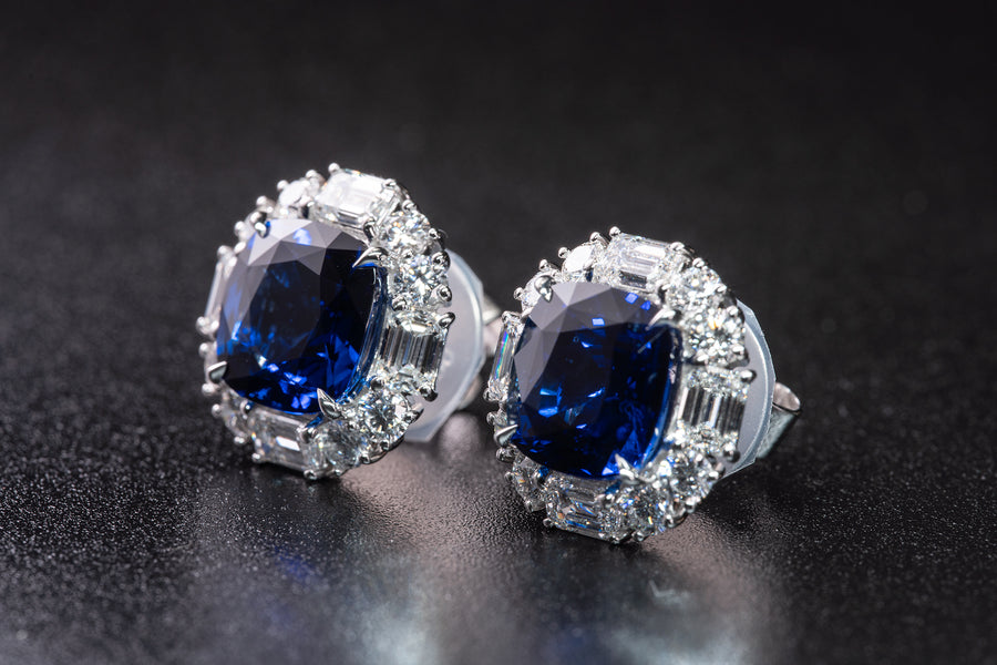 Matching Cushion Brilliant Cut Blue Sapphire and Diamond Stud Earrings