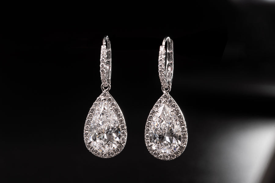 Natural Pear Shape Brilliant Cut Diamond Earrings in 18Karat White Gold and Diamonds